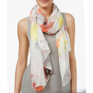 Calvin Klein Border Floral Rose Wrap Scarf Yellow